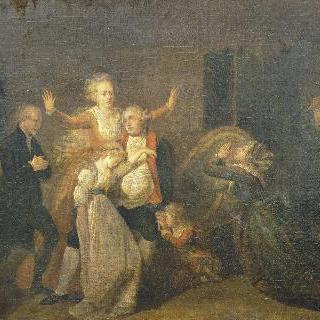 1793년 1월 20일, 가족들에게 작별을 고하는 루이 16세