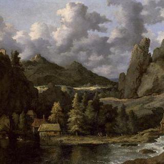 풍경 : 산 속 계곡 안의 강