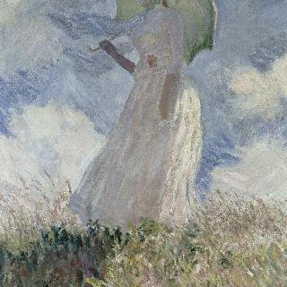 야외에서 인물 그리기 습작 : 양산을 쓰고 왼쪽으로 몸을 돌린 여인