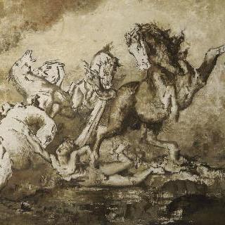 말들에게 무참히 당하는 디오메데스