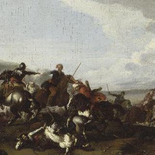 터키 병사들을 잡는 갑옷입은 군대