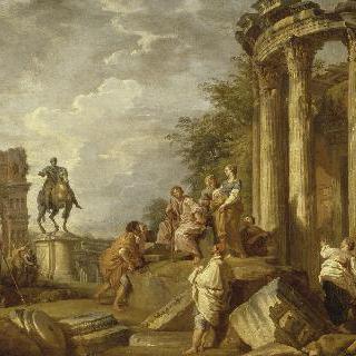 야누스 아치와 폐허, 베스타 신전과 마크 아우렐리우스 황제의 말탄 모습