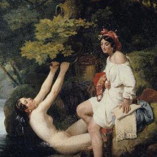네미 호수에서 목욕하는 두 소녀