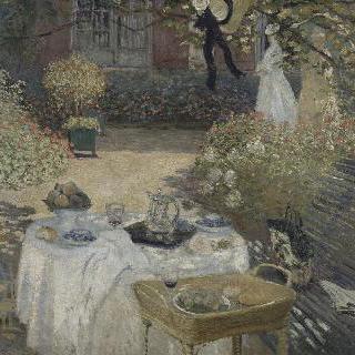 점심 식사, 아르장퇴유의 모네의 정원과 왼쪽에 있는 그의 아들 장