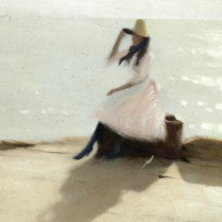 해변의 젊은 여인