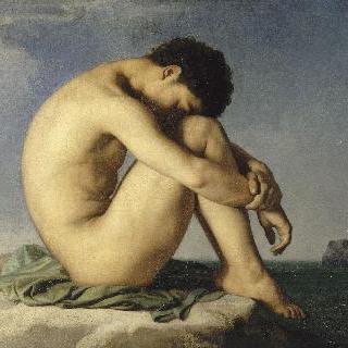 바닷가에 앉은 젊은 남자의 누드 (습작)