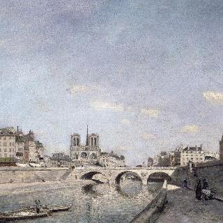 생-미셀 다리가 있는 그랑 조귀스탱 둑에서 바라본 노트르담 성당과 센 강