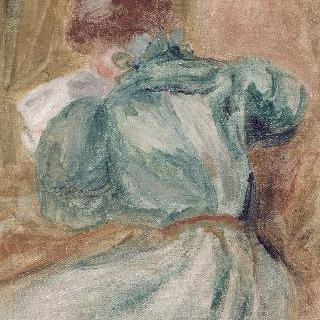 초록색 옷을 입은 책읽는 여성