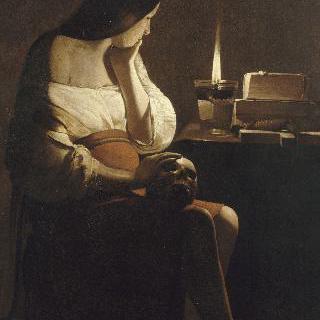 작은 등불 앞의 막달라 마리아