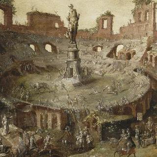 폐허가 된 콜로세움에서 열린 고대 경마 시합