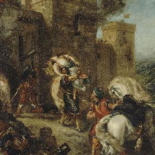 프론디부프 성의 약탈 때 기사단에 의해 납치되는 레베카(월터 스콧, 아이반호)