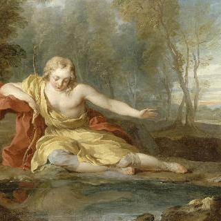 물에 반사된 자신의 모습을 응시하는 나르시스