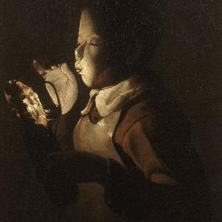 램프에 불을 붙이는 사람