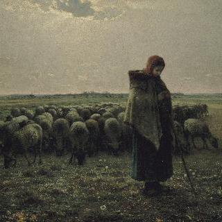 양치는 소녀와 양떼