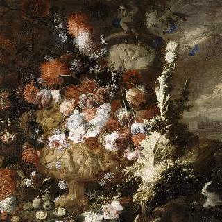 꽃병과 과일이 있는 풍경