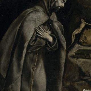 십자가 수난상 앞에서 기도하는 성 프란체스코