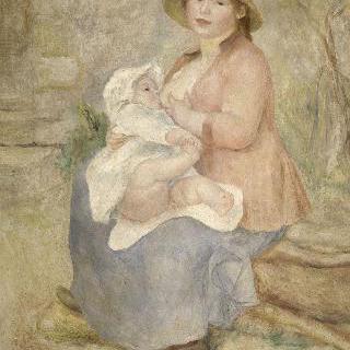 모성 일명 젖을 먹는 아기 (르누아르 부인과 그의 아들 피에르)