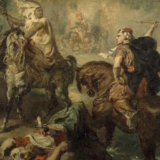 마을 성벽 아래, 홀로 싸우는 아랍부족의 족장