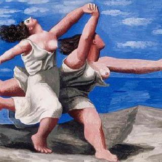해변을 달리는 두 여인