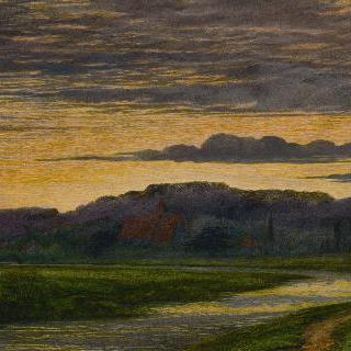 저녁 무렵 강가 풍경