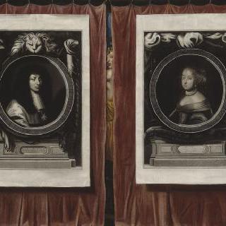 루이 14세와 마리 테레즈의 초상화가 있는 트롱프뢰유