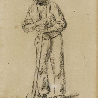 삽자루에 기댄 농부, 1859년경의 삼종기도 습작