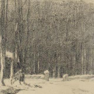 바르비종 숲의 입구 : 눈 내린 광경