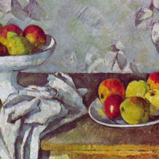 사과가 담긴 접시가 있는 정물