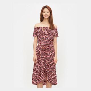 레드 꾸르토 패턴 오프숄더 드레스