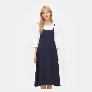네이비 리넨 피나포어 드레스