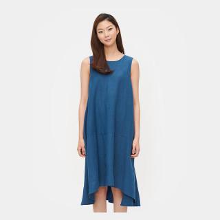 블루 슬리브리스 플레어 드레스