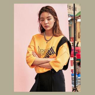 옐로우 백오픈 레터링 티셔츠  GDragon GD 지드래곤 콜라보