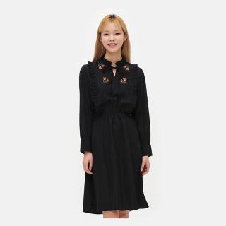블랙 플라워 자수 드레스