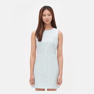 라이트 그린 스트라이프 슬리브리스 드레스