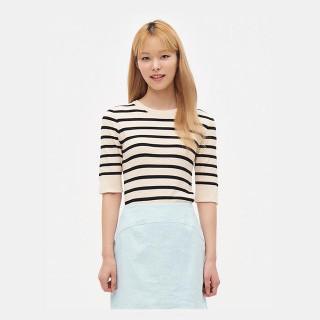 블랙 스트라이프 반소매 스웨터