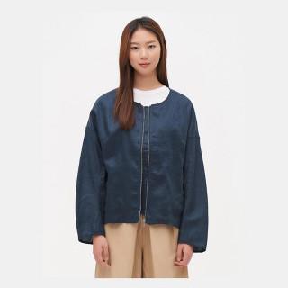 네이비 리넨 라운드넥 집업 재킷