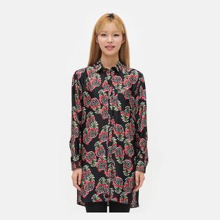 블랙 파인애플 패턴 셔츠 원피스