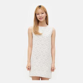 화이트 레이스 미니멀 드레스