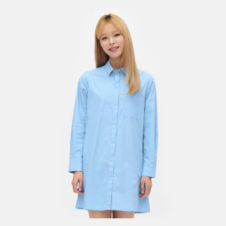 블루 백 플리츠 셔츠형 원피스