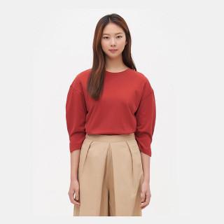 브라운 셔링 슬리브 7부 티셔츠