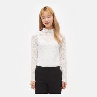 화이트 레이스 하프넥 티셔츠