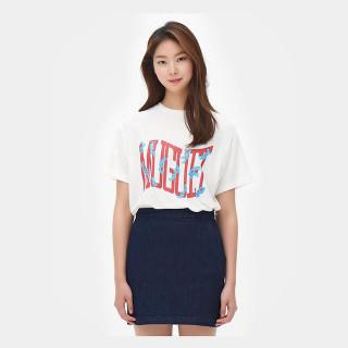 화이트 레터링 반소매 티셔츠