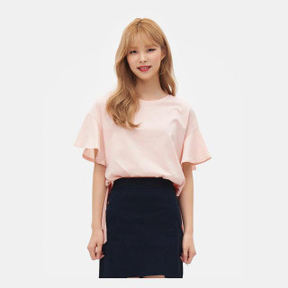 라이트 핑크 커팅 헴라인 티셔츠