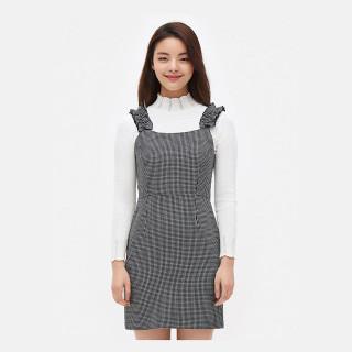 블랙 체크 피나포어 미니 드레스