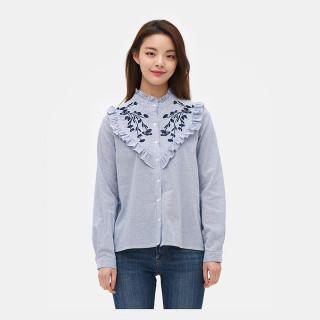 스카이 블루 프릴 스트라이프 셔츠