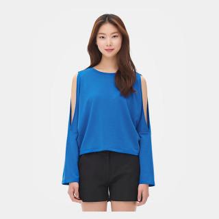 블루 배트윙 컷 아웃 소매 티셔츠