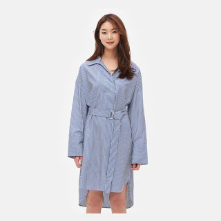 블루 스트라이프 셔츠형 원피스