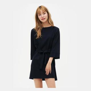 네이비 보트넥 벨트 미니 드레스