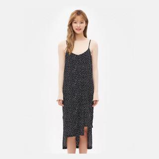 블랙 별 프린트 슬립 드레스