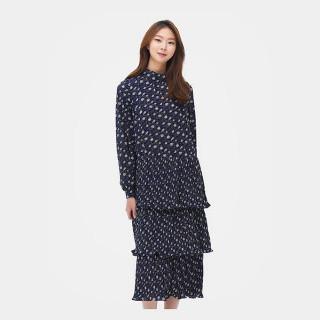 네이비 트로피컬 패턴 캉캉 드레스